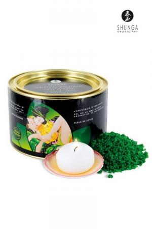 Sel de la Mer Morte Bio Parfumé à la Fleur de Lotus Shunga Cristaux d'Orient - Sel de la Mer Morte biologique aromatisé et moussant, parfumé à la Fleur de Lotus. Il colore l'eau en vert, nettoie et détend la peau pour un bain relaxant. Allumez la bougie flottante offerte pour un effet encore plus reposant.