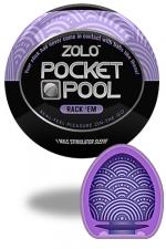 Zolo Rack EM - Masturbateur de poche Pocket Pool ™ Rack'Em de marque Zolo, avec texture en cercles nervurés.