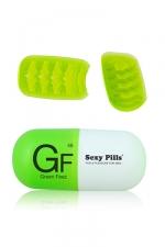 Masturbateur Sexy Pills Green Feez - Mini masturbateur pour homme en �lastom�re ultra doux avec texture en vagues qui accroit les sensations.