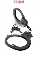 Menottes métal Designer Cuffs - noir  - Solide paire de menottes pour poignets en métal noir, pour vos jeux de domination, par Pipedream / Fetish Fantasy Series.