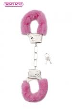 Menottes fourrure Shots - rose - Paire de menottes fantaisie qui ferment comme des vraies pour jouer à s'attacher. En métal et fausse fourrure rose.