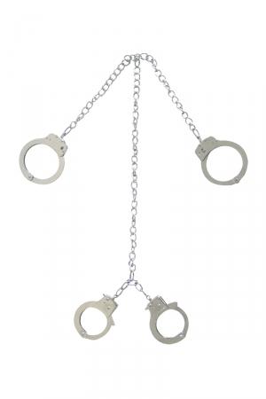 Menottes Poignets Chevilles - Une paire de 4 menottes en métal pour poignets et chevilles qui ferment à clefs. Elles sont reliées entre elles par des chaînes !