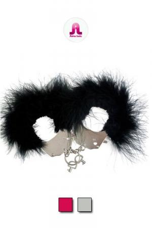 Menottes Plumes - Menottes chics et rigolotes en acier et plumes naturelles pour des jeux ou vous attacherez votre chéri. Elles ferment à clef mais respectent le confort de l'attaché. Un côté plume, un côté fourrure synthétique.