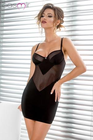Nuisette Noire Ajourée pour Travesti en Lycra - Une nuisette noire ajourée pour travesti, fabriquée en lycra confortable et moulant. Elle possède des bonnets à balconnets pour souligner vos seins et mettre votre corps en avant. String assorti offert