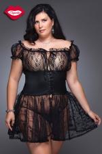 Nuisette Grande Taille pour Travesti Coquette Fancy - Nuisette romantique en dentelle avec une large ceinture corset Queen size, elle sublime la sensualité des rondes.