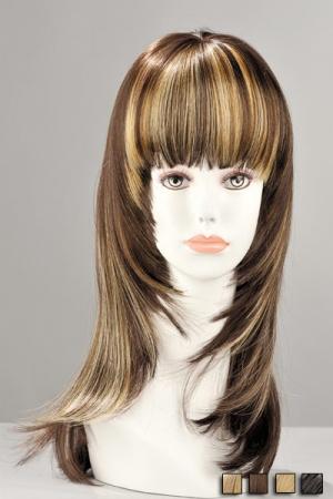 Perruque Mi Longue Réaliste à Mèches Kate - Avec ses mèches, cette perruque réaliste mi longue est très réaliste. Ses cheveux synthétiques vous permettent de vous transformer en femme très féminine, de faire ressortir votre visage et votre regard.