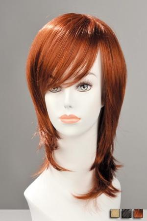 Perruque Mi Longue Zoe - Perruque mi longue à mèche aux pointes effilées, pour une allure de jeune femme et sexy. Ces cheveux synthétiques très réalistes sont lissés et se coiffent en un tour de main. Disponible en roux, brun ou blond.