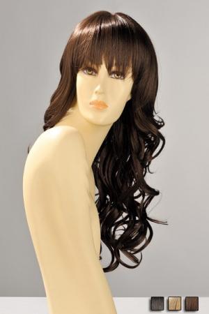 Perruque Longue et Ondulée Zara - De belles boucles, une frange droite effilée pour cette perruque longue disponible en blond, chatain et brun. Osez vous transformer, changez votre personnalité et votre coiffure avec cette perruque en synthétique. Lavage à l'eau tiède.