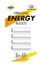 Vibrating Energy Bullets - Pour recharger votre sextoy homme Toyjoy, affichant le logo \ Vibrating Energy bullets inside\ voici 4 balles vibrantes de rechange.