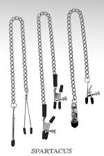Set 3 chaînes pinces seins Spartacus - Lot de 3 pinces à chaines Spartacus ajustables, pour varier les sensations : pinces simples, pinces alligator et pinces larges à vis.