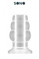 Petit Plug Anal Creux Sono - Petit plug anal creux translucide : 4,3 cm de diamètre pour 7,7 cm de long. Parfait si vous êtes débutant et que vous voulez essayer un plug tunnel. Utilisez votre anus comme réceptable ou l'agrandir. 3 anneaux au diamètre croissant.
