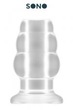 Plug anal creux taille M - SONO - Plug anal translucide, creux au milieu, 10,2 cm de long par 5,7 cm de diamètre maxi.
