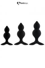 Coffret 3 Plugs Gays Noirs FeelzToys Bibi Twin : Fabriqués en silicone, ces 3 plugs gays noirs avec doubles courbures de 8,1 x 3 cm à 10,8 x 4 cm pour varier et multiplier les plaisirs ! Habituez vous à la pénétration, expérimentez un sexe plus large ! Fabriqués par FeelzToys