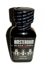 Poppers Amsterdam Black Label 24 ml - Poppers Amsterdam Black Label au nitrite de pentyle extra fort dans un gros flacon de 24 ml : petit prix gros plaisir.