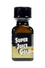 Poppers Super Juice Gold 24 ml : A l'isopentyle nitrite ultra fort, le poppers Super Juice Gold est un arôme puissant et fort à base de nitrite de Pentyle, en grand flacon de 24 ml. Puissante dilatation anale, délirante envie de sodomie, absence d'inhibitions, il a tout compris !