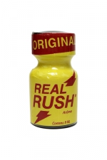 Poppers Real Rush Original 9 ml - Le poppers Original Real Rush au nitrite de pentyle est un poppers fort et puissant dans un flacon de 9 ml au format poche. Votre cul est fort dilaté, vous priez l'actif de vous enculer dès que vous reniflez ce poppers real rush.