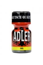 Poppers Adler 9 ml - Le Poppers Adler est le plus fort du marché, il est à base de Nitrite de Penthyle et ses effets sont  immédiats. Ouvrez son flacon de 9 ml pour une énorme claque, une exacerbation de vos sens et une euphorie sexuelle exceptionnelles.
