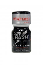 Poppers Super Rush Black Label 10 ml - Vous connaissiez Rush, voici Super Rush Black Label, un poppers à base de Nitrite de Pentyle (le composant disponible le plus fort). Cet arôme aphrodisiaque repousse vos limites & déchaîne vos démons sexuels !