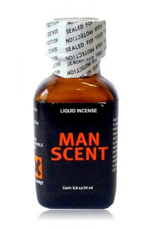 Poppers Man Scent 24 ml - Le Poppers Man Scent ce sont les senteurs masculines ultra viriles concentrées dans un grand flacon de poppers de 24 ml. A base d'isopropyle, ce parfum vous stimule et dure dans le temps. Pour les mâles qui aiment le sexe et la sueur.