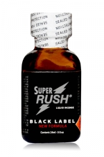 Poppers Super Rush Black Label 24 ml - Super Rush Black label, poppers aphrodisiaque à base de Nitrite de Pentyle pour euphoriser vos relations sexuelles. Avec cet arôme extra fort de 24 ml, vous serez dans un état d'euphorie et d'envie sexuelle inégalé.