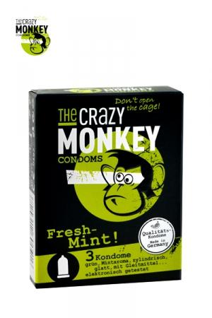 3 Préservatifs Crazy Monkey Arome Menthe Fraiche - 3 capotes parfumées à la menthe 18 x 5,2 cm. Une capote en latex fin, lisse, avec réservoir et de forme cylindrique. Pour une fellation à la menthe fraiche. Préservatif de qualité fabriqué en Allemagne.