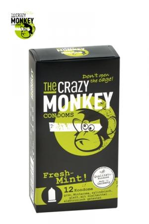 12 Préservatifs Crazy Monkey Menthe Fraiche - 12 capotes parfumées à la menthe, 18 x 5,2 cm. Une capote en latex fin, lisse, avec réservoir et de forme cylindrique. Parfait pour faire une pipe à la menthe. Fabriquée en Allemagne et testée électroniquement.