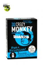 3 Préservatifs Perlés et Nervurés Crazy Monkey Fun & Friction : Picots et nervures accroissent l'orgasme pendant la sodomie. Ces 3 préservatifs 18 x 5,2 cm en latex s'appellent Fun & Friction, elles sont fabriqués par Crazy Monkey en Allemagne.