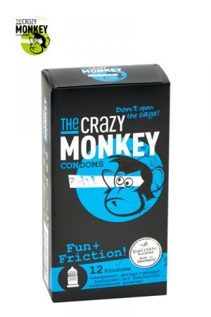 12 Préservatifs Perlés et Nervurés Crazy Monkey Fun & Friction