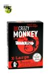 3 Préservatifs Crazy Monkey X-Large Gout Fraise - 3 préservatifs pour TBM 18 cm de long pour 5,4 cm de large, couleur rouge, parfumés à la fraise, pour hommes bien montés par The Crazy Monkey. Fabriqués en Allemagne et testés électroniquement.