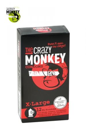 12 Préservatifs Crazy Monkey X-Large Gout Fraise - 12 préservatifs taille XL 18 cm de long pour 5,4 cm de large, couleur rouge, arôme fraise, pour les grosses bites par The Crazy Monkey. Fabriqués en Allemagne et testés électroniquement.