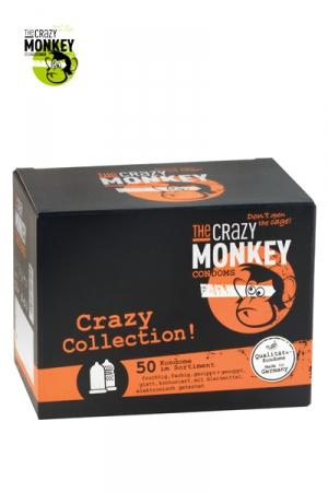 Assortiment 50 Préservatifs Crazy Monkey - 50 préservatifs Crazy Monkey : 15 capotes menthe, 15 capotes bananes, 200 préservatifs nervurés, perlés et transparents. Fabriqués en Allemagne et vendus à petit prix, ces préservatifs sont testés électroniquement.