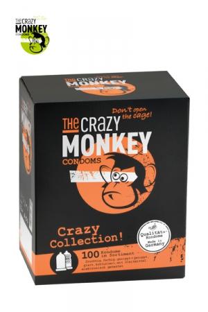 Assortiment 100 Préservatifs Crazy Monkey - 100 préservatifs Crazy Monkey : 30 capotes menthe, 30 capotes bananes, 40 préservatifs nervurés, perlés et transparents. Pour répondre à toutes vos envies de sexe à petit prix. Qualité allemande.