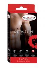 8 Préservatifs Perfect Size Lion 60 - Préservatif en latex de 20 cm de long pour 6 cm de diamètre et 0,065 mm d'épaisseur : pour plus de confort et de sensations achetez un préservatif à votre taille, la capote Perfect Size Lion 60 est idéale pour un grand sexe large et épais.