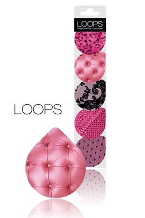 Préservatifs Pinky -  Loops - Préservatif en latex dans un emballage glamour, solide et transportable. Ouverture facile par languette. Capote fine, lubrifiée, avec réservoir, norme CE.