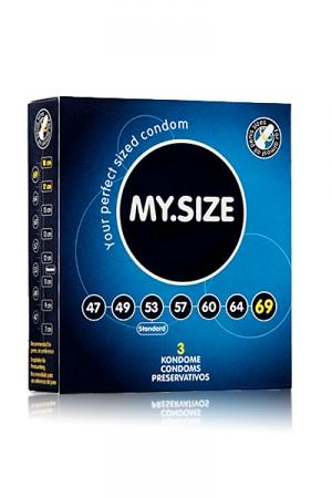 3 Préservatifs My Size - 3 préservatifs My Size disponibles du XS au XXL en 7 largeurs. Des capotes haute qualité en latex lubrifié adaptées à votre taille. Elles sont lisses, possèdent un réservoir et mesure 70 microns d'épaisseur.