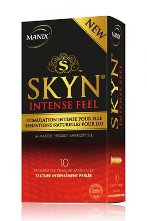 Préservatifs Manix Skyn Intense Feel x10 - 10 préservatifs Manix ultra fins perlés et sans latex. Fabriqué en polyisoprène texturé, ces capotes premium adaptés au sexe hard donnent la sensation de ne rien porter. Leur texture stimule les zones érogènes.