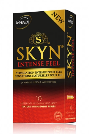 Pr�servatifs MANIX Skyn Intense Feel x10 - 10 pr�servatifs Manix Premium sans latex, avec texture intens�ment perl�e et mati�re presque imperceptible.
