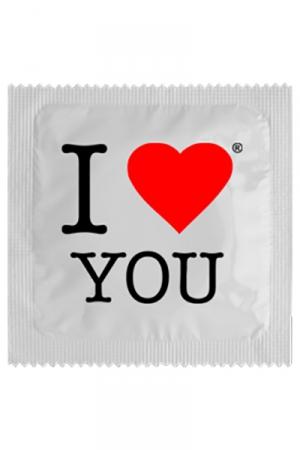 Préservatif I Love You - Préservatif  I Love You , pour le dire avec humour et de manière différente ! Cette capote en latex premium mesure 5,3 cm de large, elle est fabriquée par Callvin en France.