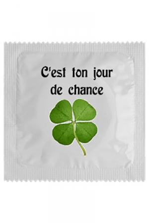 Préservatif Jour De Chance - Aujourd'hui c'est votre Jour de Chance, avec ce préservatif, garantie d'une bonne baise sans risque mais avec beaucoup de plaisir. Cette capote est fabriquée en latex en France par Callvin.