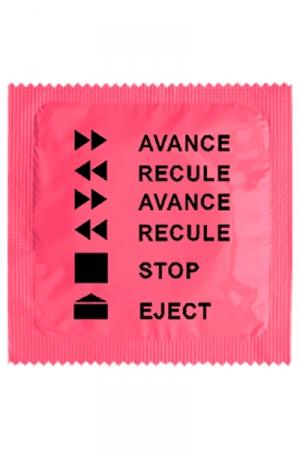 Préservatif Rigolo Avance Recule - Gage d'humour et de sexe, ce préservatif rigolo Avance Recule fait référence à une célèbre chanson paillarde. Il est fabriqué en France par Callvin dans un latex traditionnel haut de gamme.