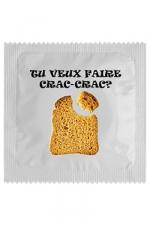 Capote Crac Crac : Envie de sexe ? Avec ce préservatif Crac Crac, faites passer le message avec le sourire, homme qui rit, déjà à moitié dans ton lit ! Cette capote en latex haut de gamme est fabriquée en France par Callvin.