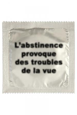 Préservatif Abstinence - Ce soir je veux faire l'amour ! Comment mieux le dire qu'avec ce préservatif Abstinence avec son emballage humoristique fabriqué par Callvin en France ? En latex de caoutchouc, il vous protège efficacement quand vous faites l'amour !