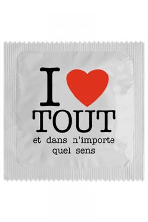 Préservatif I Love Tout - Préservatif I Love Tout une capote qui fait directement passer le message : on peut tout vous faire, vous adorez et vous en redemandez ! Fabriqué par Calvin en France dans un latex de haute qualité.