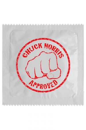 Préservatif Chuck Norris - Ce préservatif est approuvé par Chuck Norris lui même ! Si Chuck Norris le dit, vous n'avez plus à avoir de crainte, vous pouvez faire l'amour avec cette capote fabriquée en France par Callvin !