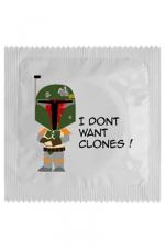 Préservatif I Don't Want Clones - Luttez contre les clones avec ce préservatif  I Don't Want Clones  clin d'oeil à Star Wars et la Guerre des Clones. Fabriqué en France, par Callvin dans un latex protecteur, il vous permet de  partir au combat  l'esprit léger.