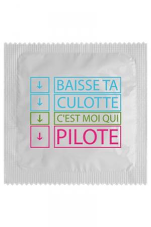Préservatif Baisse Ta Culotte - Préservatif Baisse Ta Culotte C'est Moi Qui Pilote : cette capote en latex haute qualité est fabriquée en France par Calvin. Elle protège efficacement lors des relations sexuelles.
