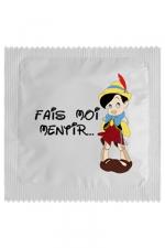 Préservatif Fais Moi Mentir - Soyez un méchant petit garçon et demandez à votre Jiminy Cricket de vous faire mentir avec ce préservatif Fais Moi Mentir. Une capote en latex premium, fabriquée en France par Callvin et qui respecte les normes les plus sévères.