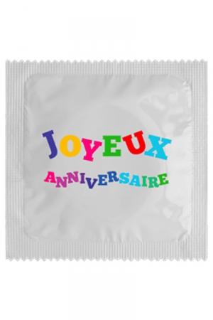Préservatif Joyeux Anniversaire - Préservatif Joyeux Anniversaire pour lui souhaiter son anniversaire avec du plaisir. Cette capote en latex est fabriquée en France par Callvin, elle mesure 5,3 cm de large pour plus de confort.