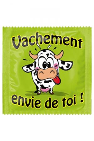 Capote Humour Vachement Envie De Toi - Comment ça j'ai un préservatif Vachement Envie de Toi dans la poche ? Meuh non, que vas-tu imaginer ? Une capote en latex, fabriquée en France par Callvin ? Allons donc ! Meuuuh si !