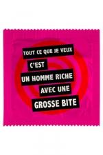 Préservatif Humour Un Homme Riche Avec Une Grosse Bite - Avec ce préservatif  Un Homme Riche Avec Une Grosse Bite , faites sourire. Fabriquée par Callvin en France, cette capote premium mesure 5,3 cm de diamètre. Elle est en caoutchouc.